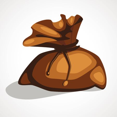 Cartoon old full brown bag for money. Vector illustration