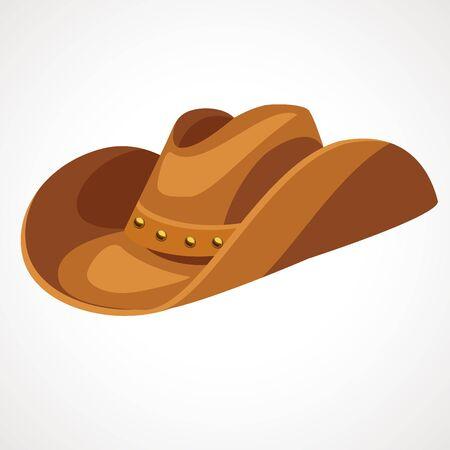 Cartoon cowboy leather hat. Vector illustration