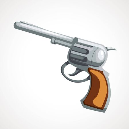 Cartoon revolver gun on a white