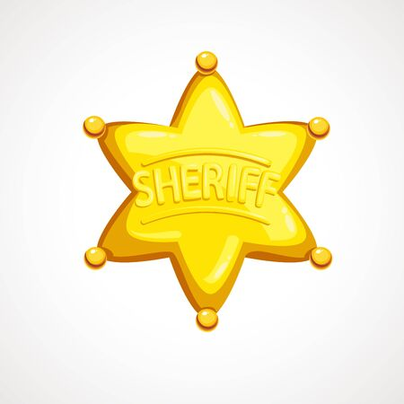 Cartoon sheriff shiny star. Vector illustration. Çizim