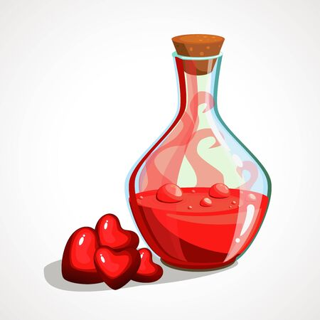 Cartoon flask with a love potion. Vector illustration.