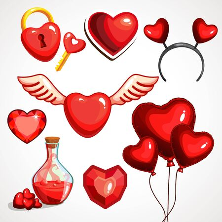 Set of elements for st. Valentine s day. Isolated on white background. Vector illustration