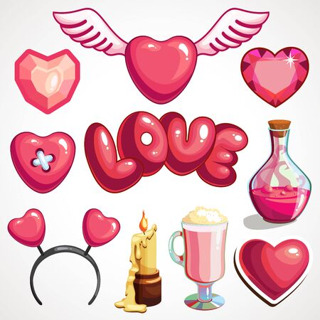 Cartoon set of attributes for Valentine s Day. Vector illustration.