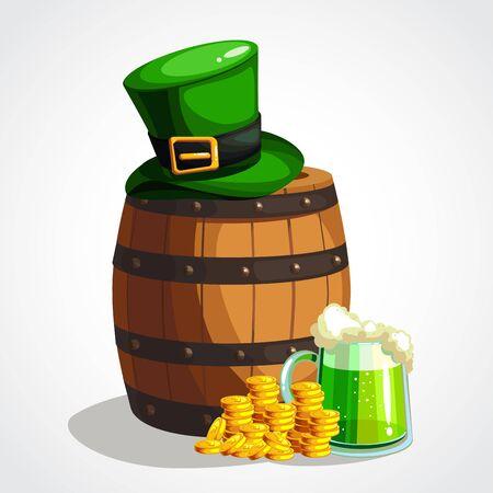 Cartoon St. Patrick s Day greeting card. Vector illustration Çizim