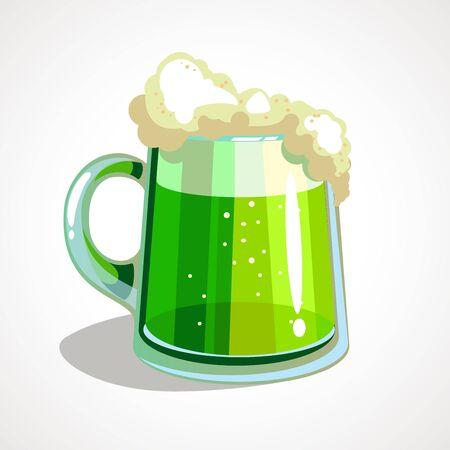 Cartoon green beer St. Patrick s Day. Vector illustration