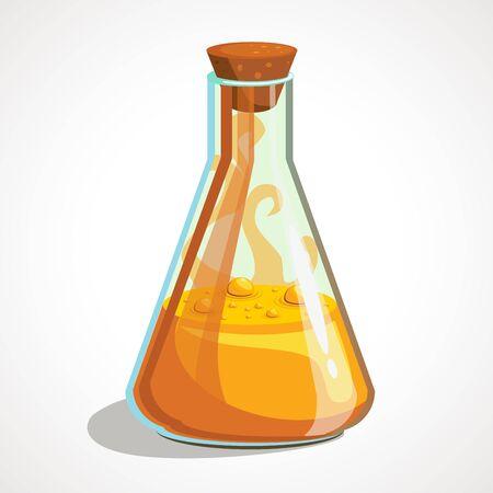 Cartoon triangular flask with orange potion. Vector illustration