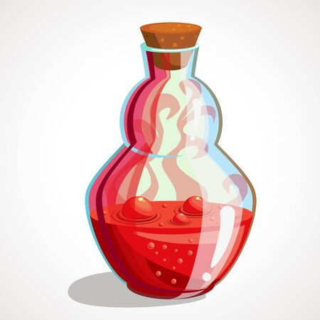 Cartoon magical red potion in a glass flask. Vector illustration.