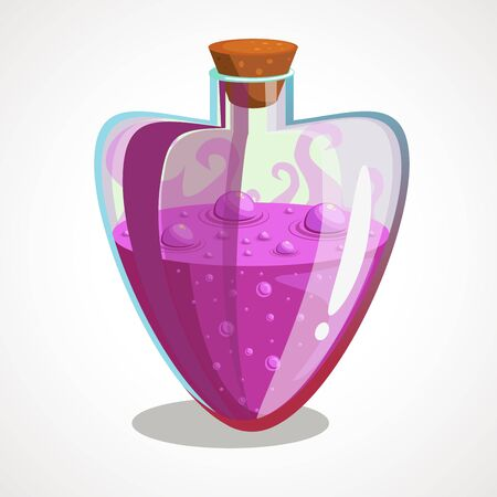 Cartoon flask with heart shaped potion. Vector illustration. Çizim