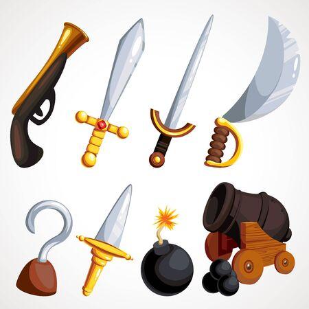 Cartoon set of pirate weapons. Vector illustration. Çizim