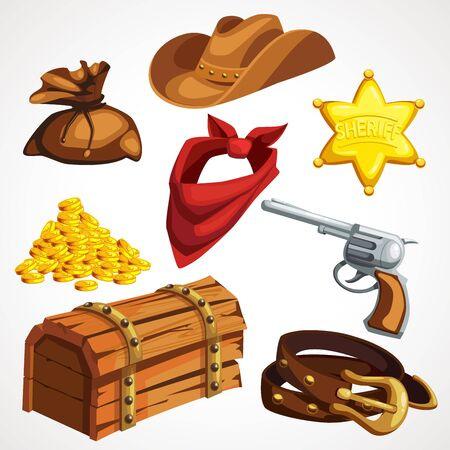 Cartoon set of cowboy things from the American Old West
