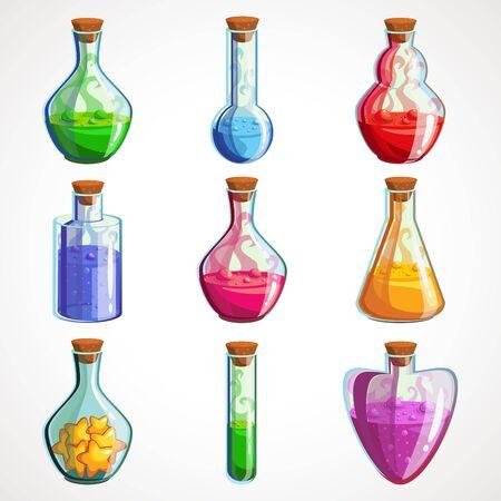 Cartoon set of flasks with magic potion. Vector illustration Çizim