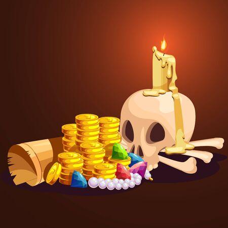 Cartoons pirate treasure composition. Vector illustration.