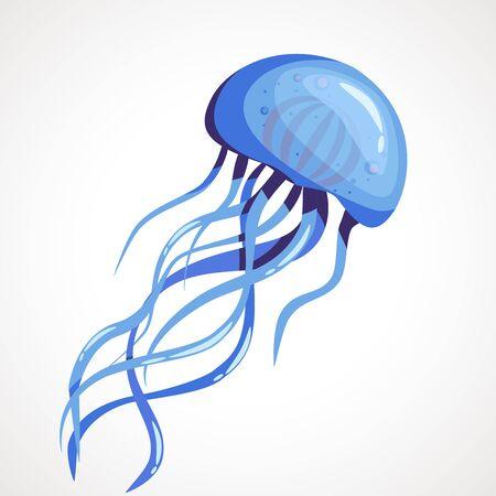 Cartoon blue jellyfish on a white background. Vector illustration Çizim