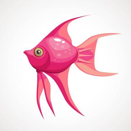 Cartoon pink sea fish. Vector illustration.