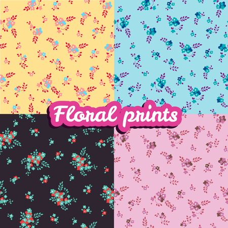 Set of floral prints. Seamless texture.