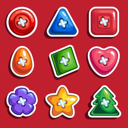 Set of colored cartoon buttons for clothes.