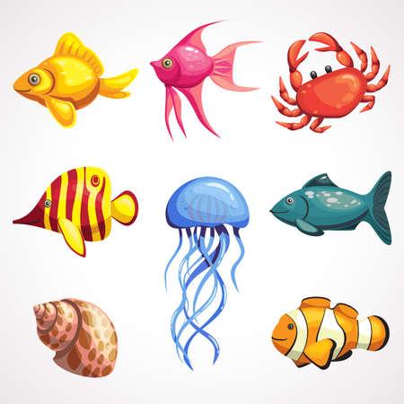 Cartoon set of sea inhabitants. Colored underwater animals. Vector illustration