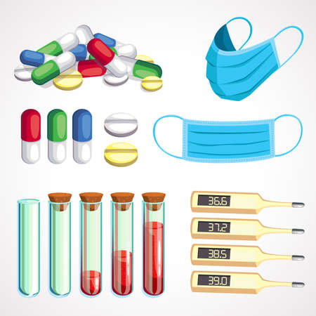 Cartoon colorful medical things. Medicine and health. Vector illustration