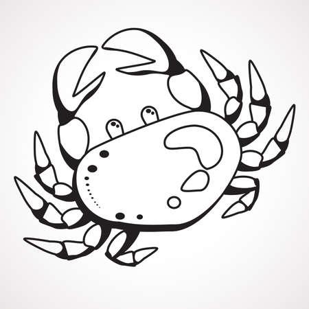 Cartoon crab contour drawing. Children s coloring