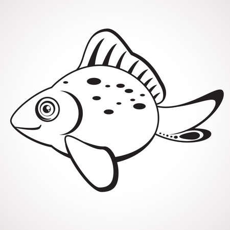 Cartoon contour goldfish. Children s coloring