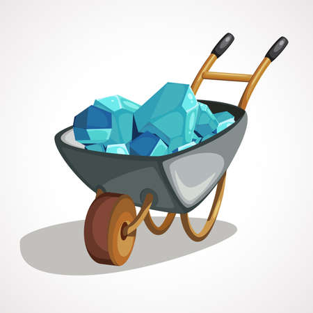 A wheelbarrow for a mine is full of precious stones
