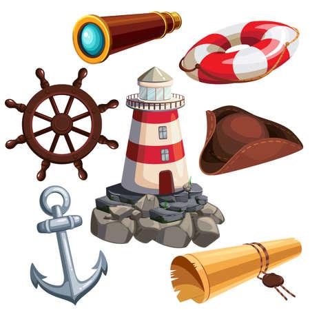 Nautical icon set. Cartoon captain attributes. Vector illustration. Çizim