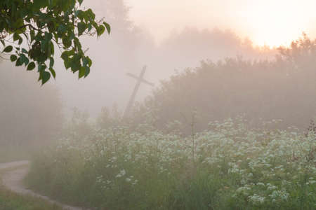 Countryside sand road and old wooden leaning cross between tall green grass and trees in thick fog at sunrise Stock Photo