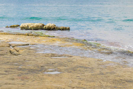 Limestone with fissures in Malta, Birgu or Vittoriosa coastline