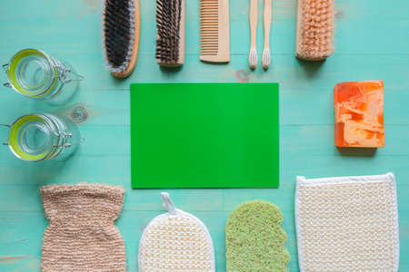 Reusable glass jars, bamboo toothbrushes, natural sponges, wooden comb, homemade soap, natural bristle wood brushes. Eco-friendly, zero waste, plastic free and reuse concept. Top view, copy space. Stock fotó