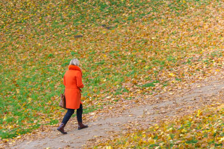 Woman in red coat walking on path in meadow, full of colorful autumn leaves. Female in red on autumnal field background. Copy space. Human autumn colors clothing concept