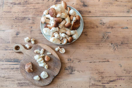 Edible mushrooms on rustic table. Fresh mushrooms boletus edulis in plate and on wood board on wooden vintage background. Boletus on cutting board and in bowl with copy space