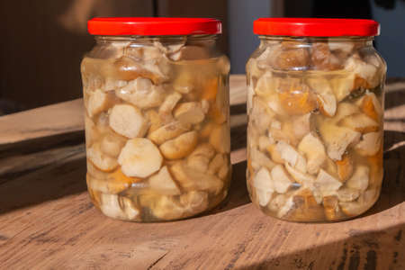 Canned edible mushrooms boletus in glass jars on wooden background. Prepared mushrooms in glassware on rustic wood table in sunlight. Home-made preserves of mushrooms. Rural cuisine. Boletus edulis. Foto de archivo