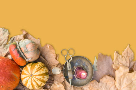 Various raw pumpkins with dry fall leaves and burning candle on old bronze candlestick with scissors yellow background. Halloween vintage background. Mockup for Halloween. Top view. Flat lay. Selective focus