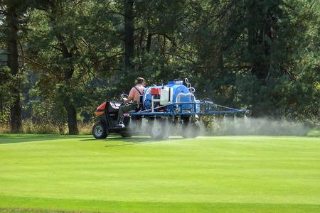 maintenance worker: Work on golf green