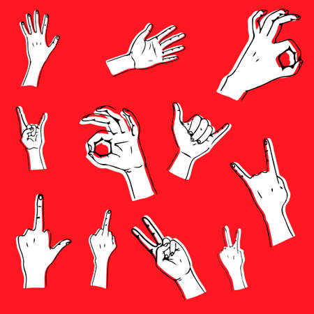 Hand gestures in different positions. Vector hands showing and pointing, holding and representing Ilustração
