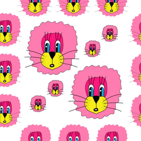 vector seamless pattern with funny lions