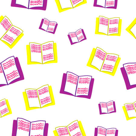 books pattern seamless colored vector. Ilustração
