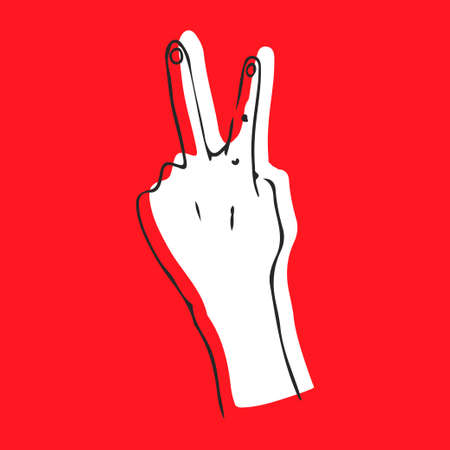 Hand sign victory sign , or peace sign or scissors. Vector color illustration isolated on a white background. For web, poster, info graphic Ilustração