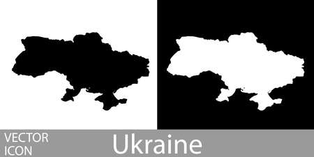 Ukraine detailed map flat black and white vector icon.
