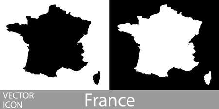 France detailed map flat black and white vector icon.