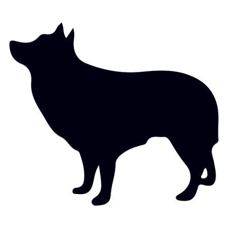 Vector illustration of dog silhouette on white background. Element for design. 일러스트