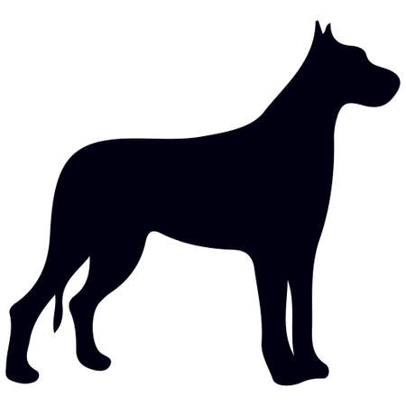 Illustration of dog silhouette on white background. Element for design.
