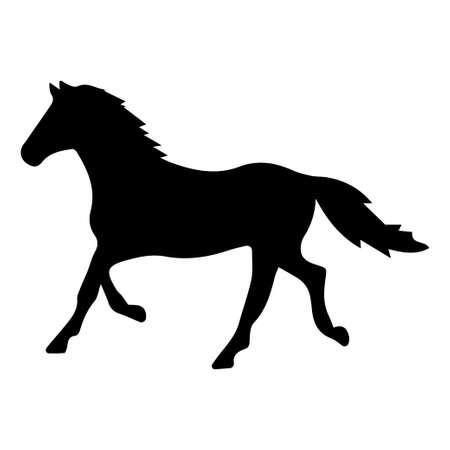 Illustrazione della siluetta dei cavalli su priorità bassa bianca. Elemento per il design.