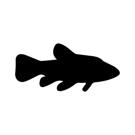 Illustration of fish silhouette on white background. Element for design.