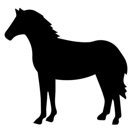 Vector illustration of horses silhouette on white background. Element for design.