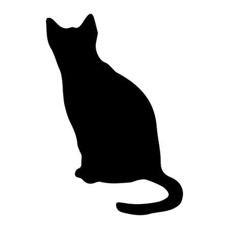 Ilustración de vector de silueta de gato sobre fondo blanco. Elemento de diseño.