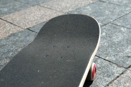 Skateboard. Skateboard in the modern space. Skateboard with copy space.