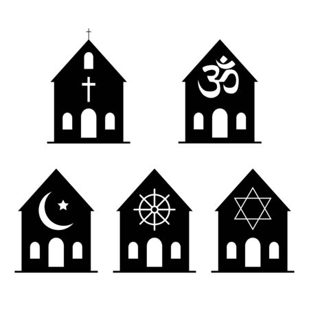 Icons denoting different religious symbols. Vector Illustration