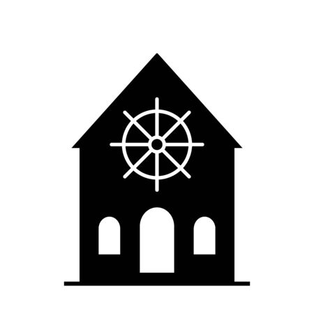 Dharmachakra. Wheel of Dharma - a symbol of Buddhism and Hinduism flat vector icon for apps and websites