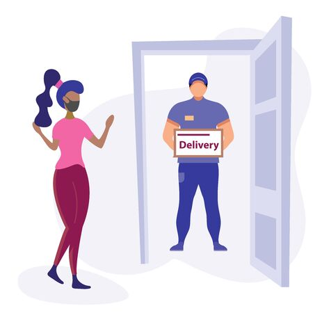 Customer Delivery Character. Order Transportation, Male Occupation. Customer Commercial Order Concept for web Banner Infographics Images. Flat Isometric Illustration Isolated on White Background Vecteurs